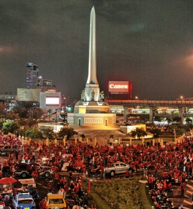 Red Shirts assemble at Victory Monument. Photo courtesy of Flickr user Y-Not