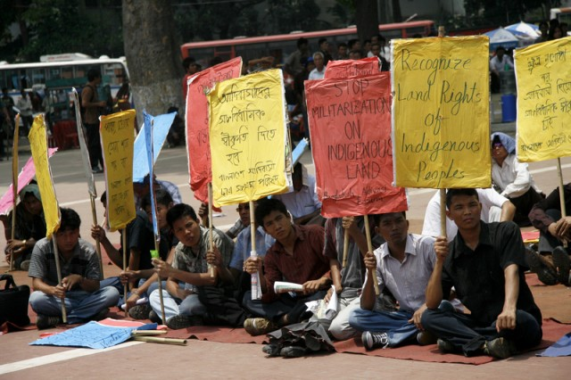 Indigenous people of Bangladesh are demanding constitutional recognition in Dhaka. Image by Abu Ala, copyright Demotix (29/4/2011).