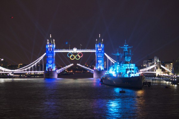 London 2012 Opening Ceremony, Lights and Fireworks Display at Tower Bridge. Image by Jaki North. Copyright Demotix (27/7/2012)