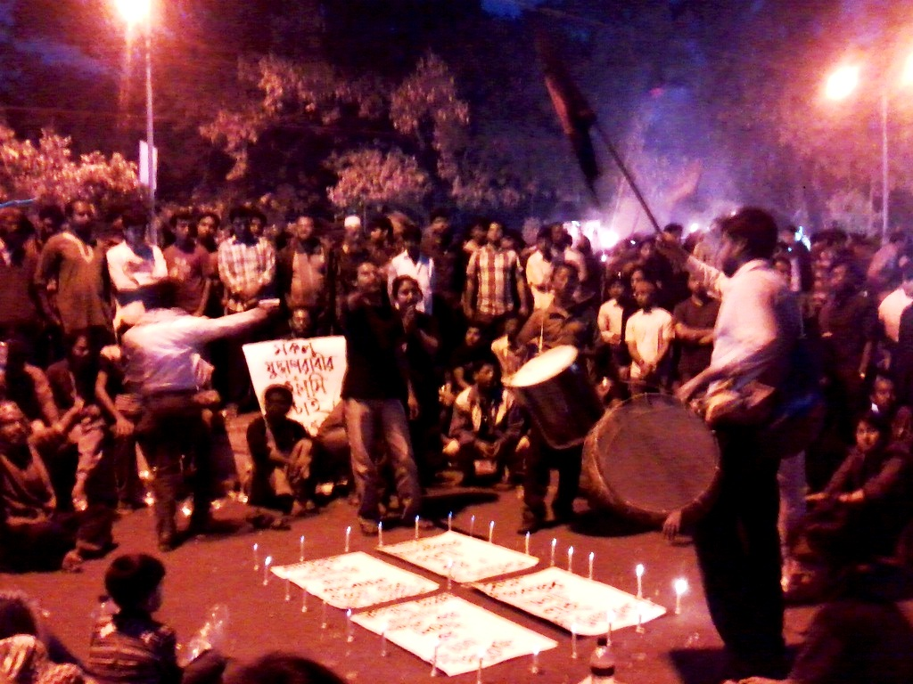 protests continued at night