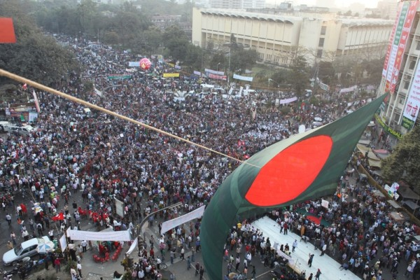 Ocean of people in Shahbagh. Image by Firoz Ahmed. Copyright Demotix (11/2/2013)