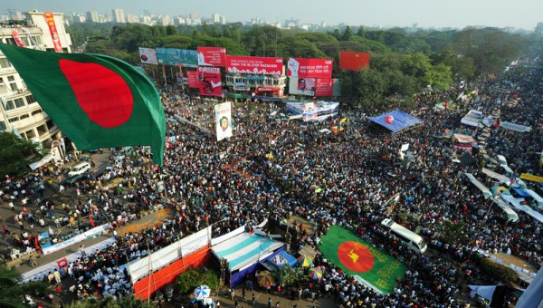 Hundreds of thousands of people attend a grand rally at Projonmo Chattar in the capital's Shahbagh. Image by Firoz Ahmed. Copyright Demotix (21/2/2013)