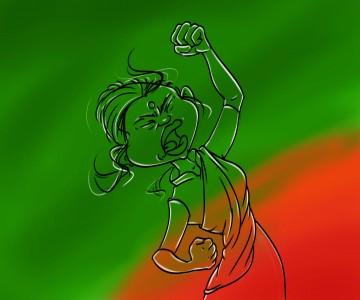 শাহবাগের অগ্নিকণ্ঠ লাকী আক্তারের স্কেচ এঁকেছেন শিল্পী সুজন চৌধুরী