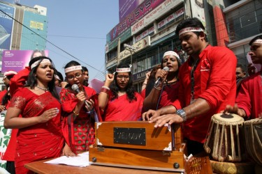 Action Aid Bangladesh's protesting violence against women by singing.