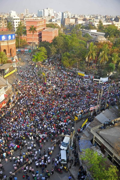 Hundreds of demonstrators converge near historic Bahadurshah Park in Old Dhaka to press their demand of hanging all war criminals.