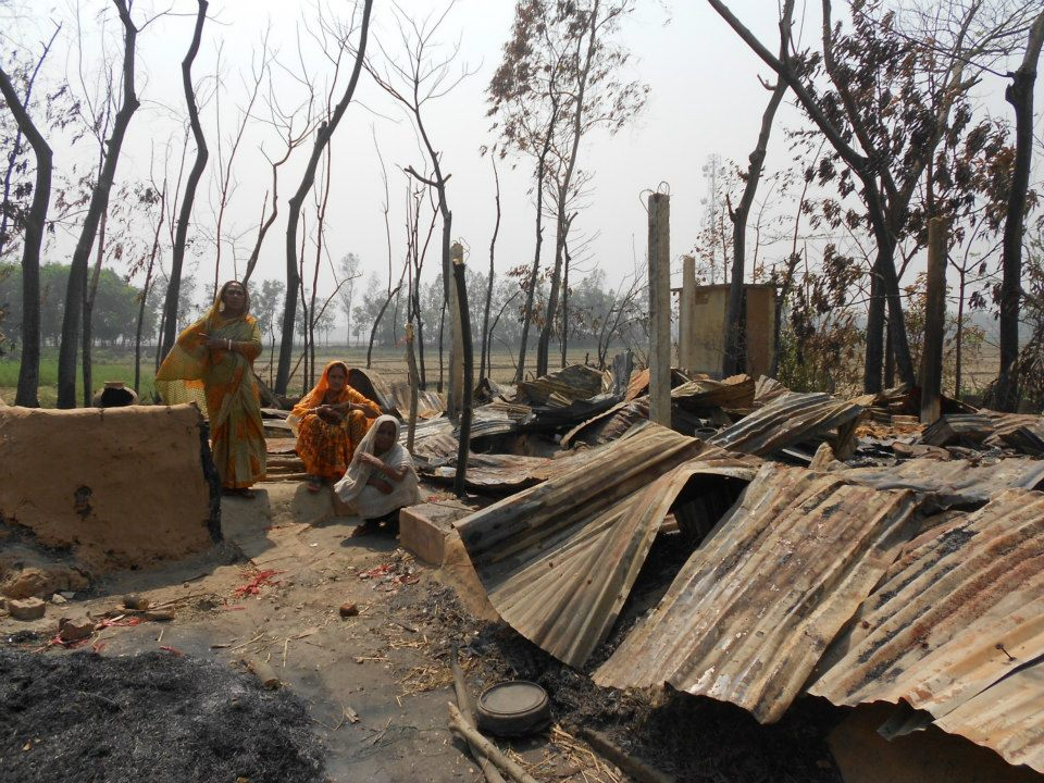 The destruction by Jamaat in Banshkhai, Chittagong. The Hindu victims are living with fear under open sky.
