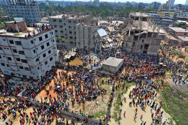the scene after a nine-storey building collapsed in Savar