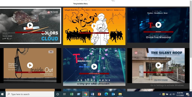 Couvertures des vidéos de la série documentaire sur le quotidien pendant la pandémie au Bangladesh